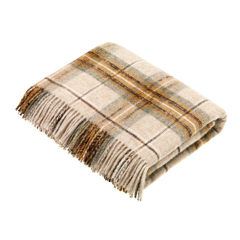 Bronte by Moon – National Trust Montacute Gold Check Shetland Quality Wool Throw