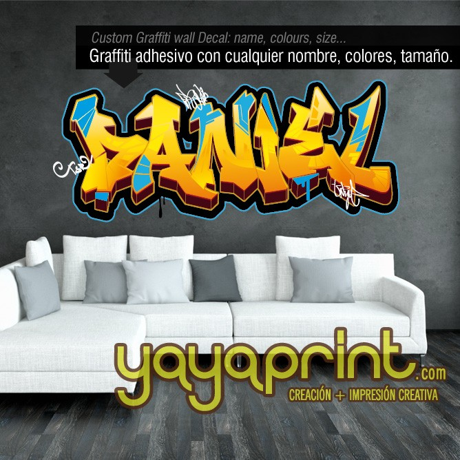 Childrens wall decals and stickers Tu nombre en Graffiti