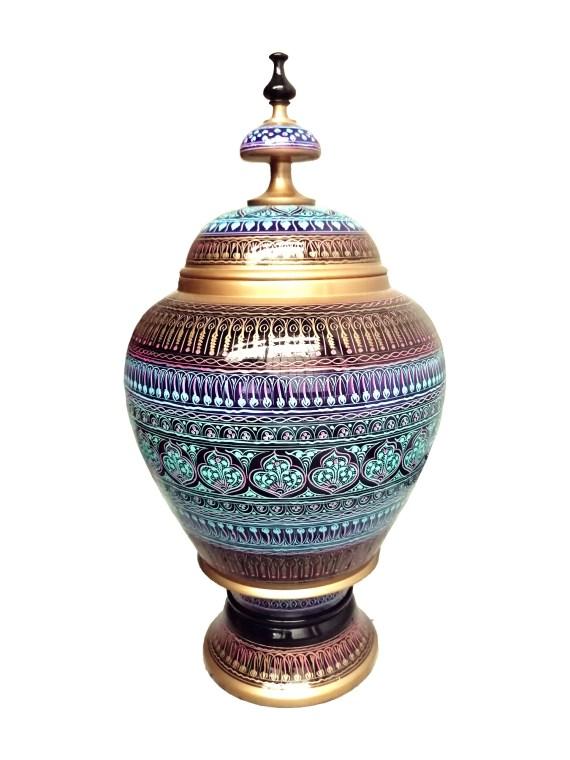 Hand Carved Wooden Candy Jar Golden & Skyblue