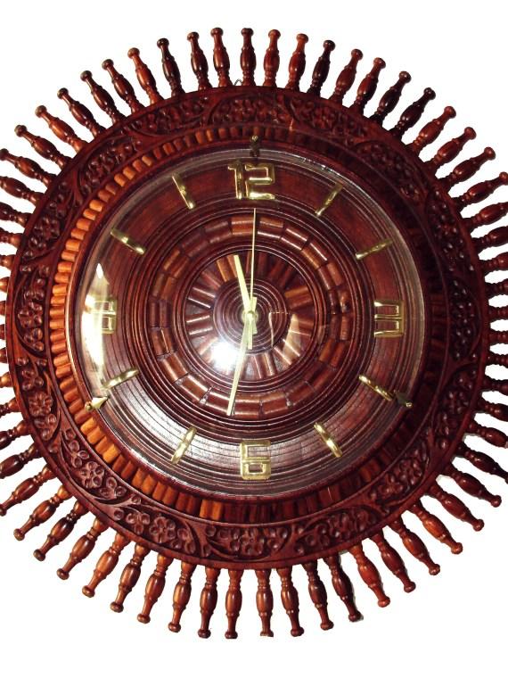 Wooden Wall Clock Sunflower Design