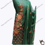 Fully Embroidered Green shirt with dupatta and seelevs