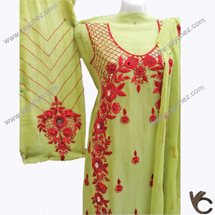 hand Made Embroidery on Puree Fabric Green
