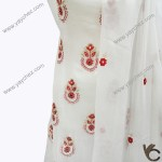 Pure White Shirt with Red Embroidery for women
