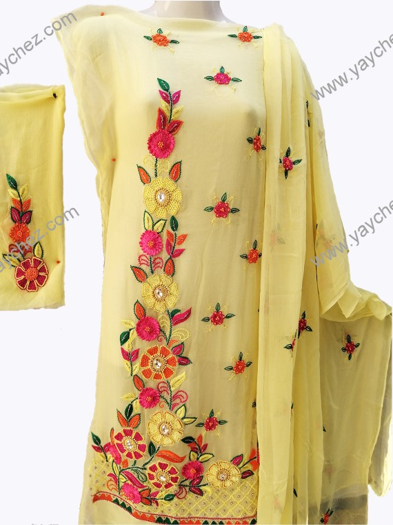 Hand Made Embroidery for women Pure Pk lemon light yellow (2)