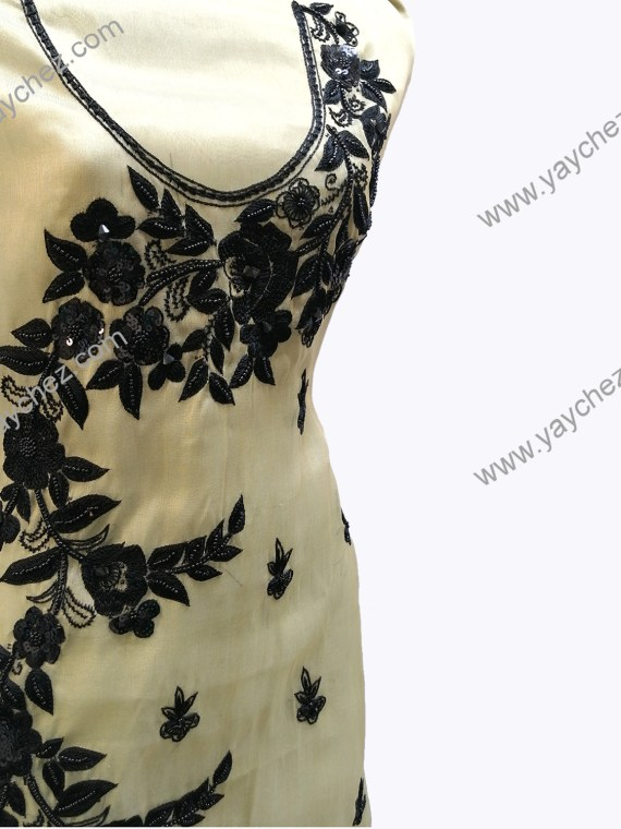 Golden shirt with Black hand made Embroidery