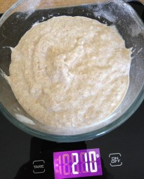 For the bread, I need 210g active starter, so I measure out that much and refrigerate the rest