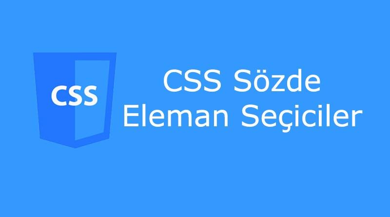 CSS sözde elemanlar