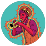 Illustration of a man playing a trumpet