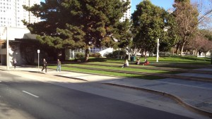 Photo of the South Mission Street parking cutout at Yerba Buena Gardens