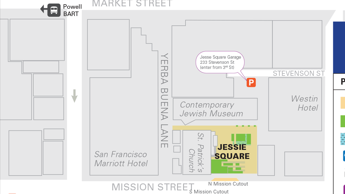 Map of Yerba Buena Gardens' central block 1.
