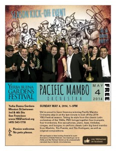e-flyer about Pacific Mambo Orchestra kicking off YBG Festival 2014