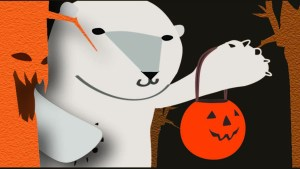Illustration of trick or treating bear