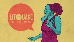 Illustration of woman speaking and snapping her fingers, Litquake