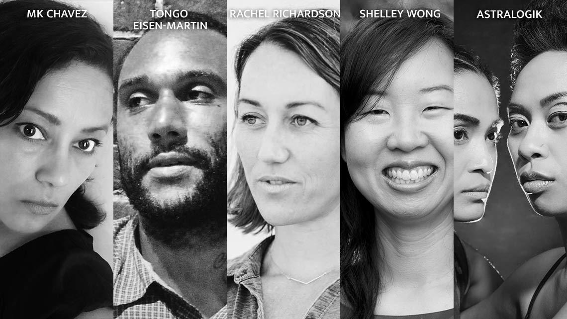 Photos of MK Chavez, Tongo Eisen-Martin, Rachel Richardson, Shelley Wong, and Astralogik