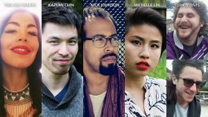Photos of Tria Blue Wakpa, Kazumi Chin, Nick Johnson, Michelle Lin, and Turk & Divis