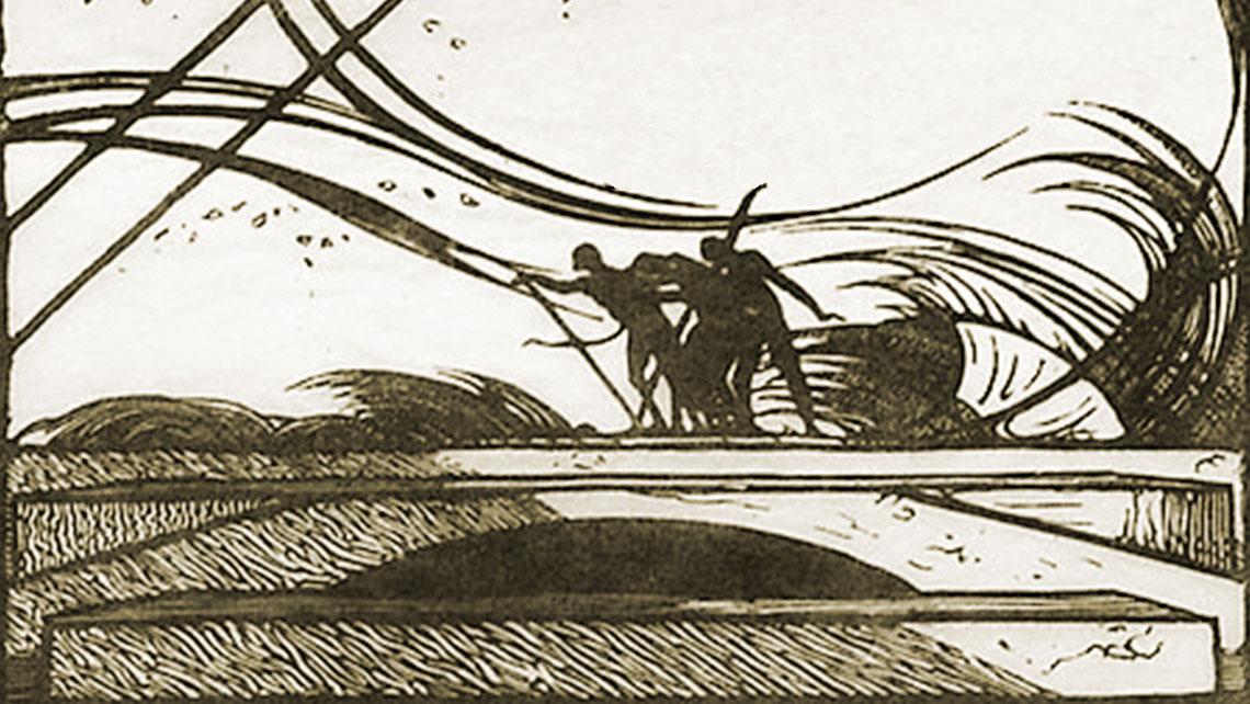 Illustration of figures on a bridge