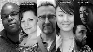 Photos of James Cagney, Sandra Garcia Rivera, Bruce Snider, Brynn Saito, and Hierophonic.