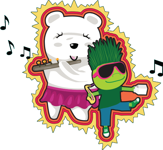 Illustration of a polar bear playing the flute and a child dancing