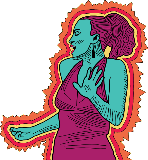 Illustration of a woman speaking and snapping fingers