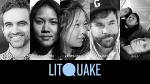 Photo collage of poets Jay Deshpande, Monica Sok, Kristin Change, Sam Sax, and music group Gala, and Litquake logo.