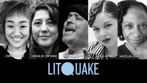 Photos of Litquake poets Christine No, Lehua M. Taitano, Paul S. Flores, Kaila Love, and Nazelah Jamison.