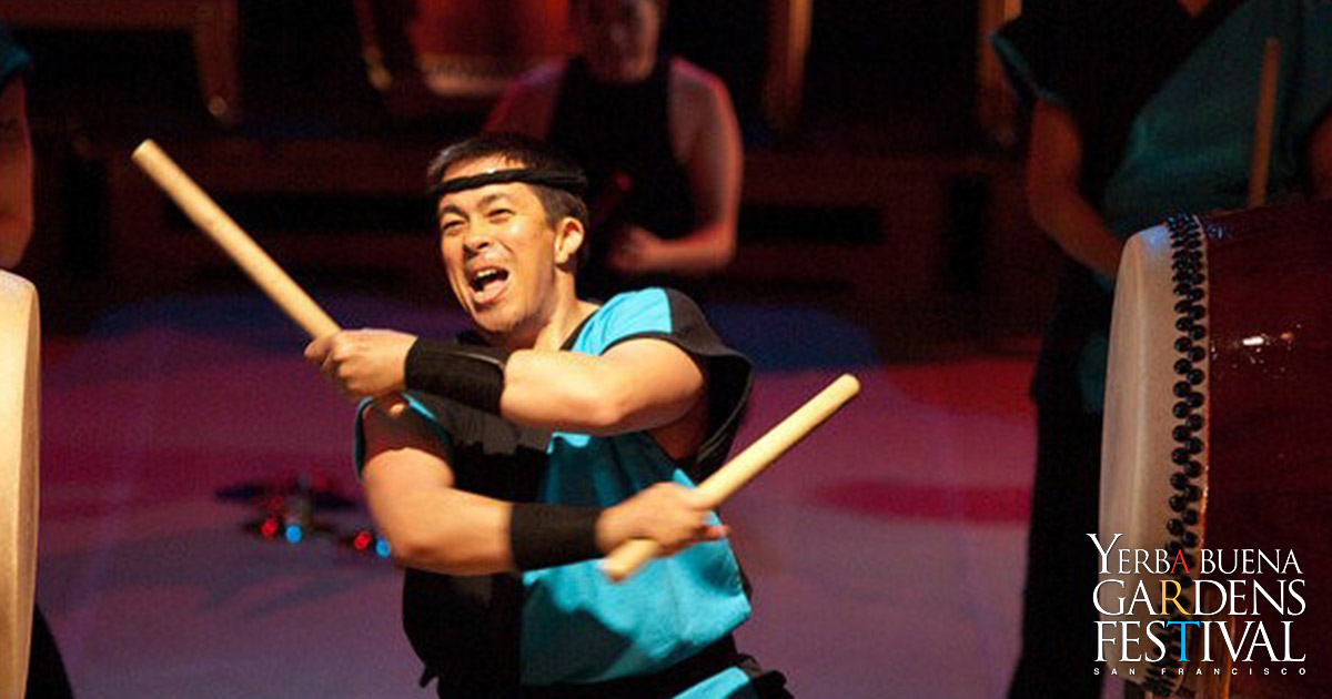 Photo of Japanese style drummer of group Maikaze Daiko