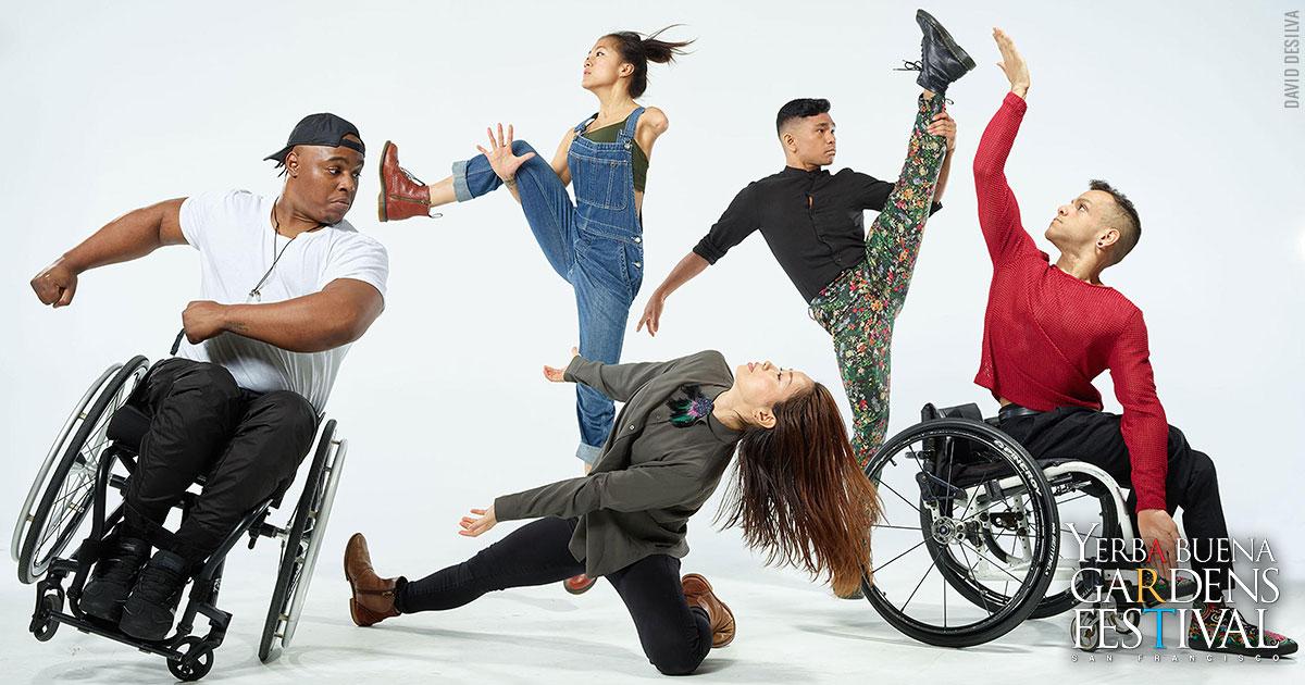 Photo of AXIS Dance Company dancer DeMarco Sleeper, Lani Dickinson, Yuko Monden Juma, AJ Guevara, Janpi Star. Photo by David DeSilva.