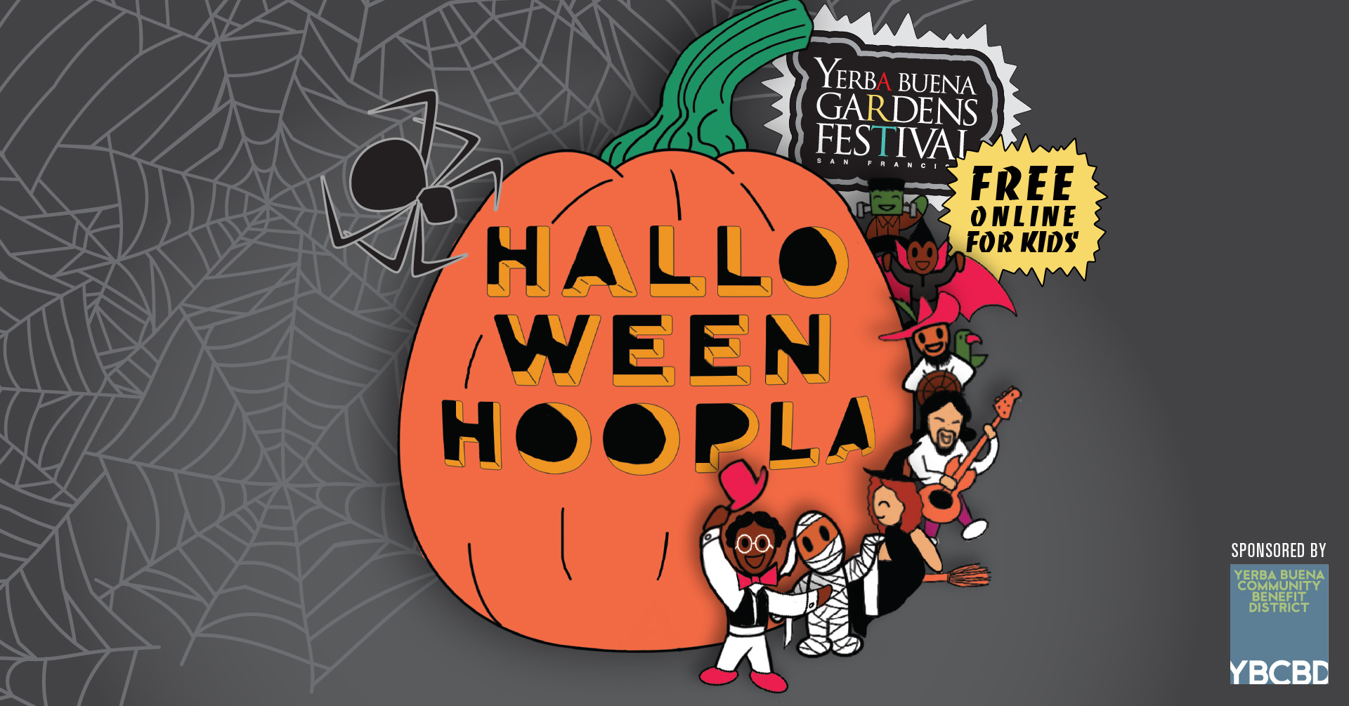 "Colorful cartoon illustration of small kids figures in costume, dancing around a giant pumpkin that says ""Halloween Hoopla."""