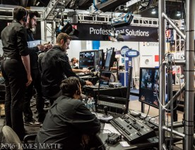 Las Vegas, NV - April 18, 2016: People man the control booth to manage a video broadcast at the NAB Show. Photo by James Mattil, YBLTV Writer / Reviewer / Photographer.