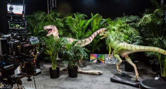 Las Vegas, NV - April 18, 2016: NAB trade show exhibit demonstrates filming of dinosaurs on a stage set. Photo by James Mattil, YBLTV Writer / Reviewer / Photographer.