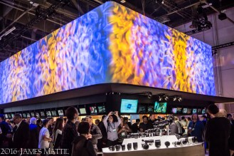 Las Vegas, NV - April 18, 2016: The Sony Electronics exhibit at NAB displays a wide range of cameras for cinema quality production. Photo by James Mattil, YBLTV Writer / Reviewer / Photographer.