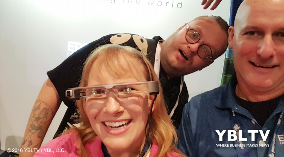 Epson Public Relations Manager, Darek Connole with YBLTV Writer/Reviewer Jack X and YBLTV Anchor, Erika Blackwell at interDrone 2016.