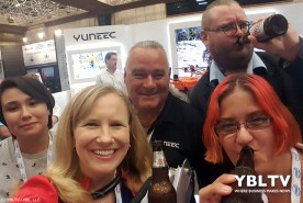 Yuneec's Douglas Spotted Eagle with YBLTV Team: Video Producer, Amy Armenta, Writer / Reviewer, Jack X, Anchor, Erika Blackwell and Photographer & Reviewer Assistant, Kim Rose at InterDrone 2017.