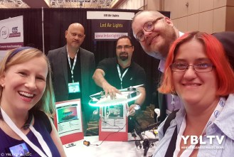 YBLTV Team: Anchor, Erika Blackwell, Writer / Reviewer, Jack X and Photographer / Reviewer Assistant, Kim Rose meet LED Air Lights, Manager, Garth Dias with business colleague, Chris at InterDrone 2017.