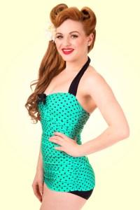 maillot-de-bain-pin-up-sculptant-vert-bleu-pois-noir-50s-rockabilly-retro