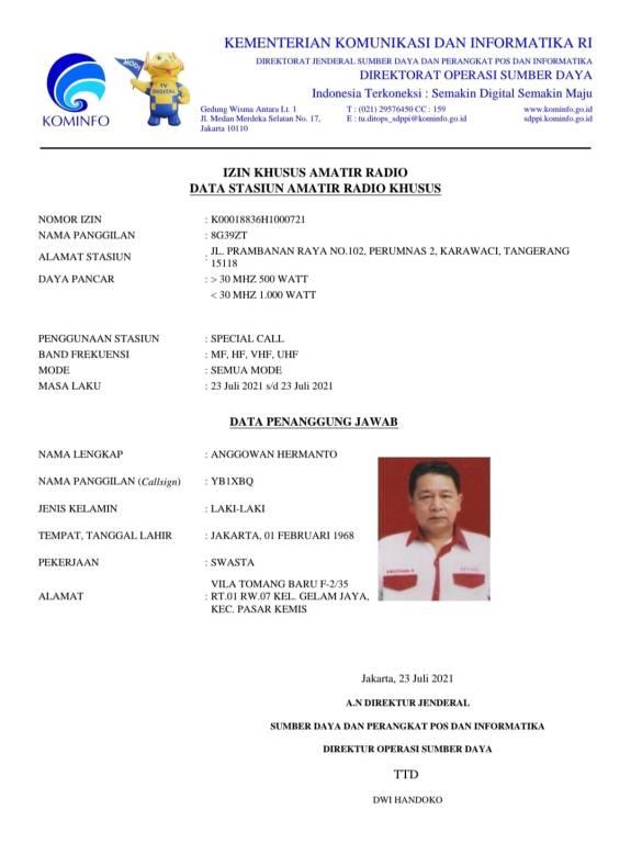 Izin Khusus Amatir Radio Special Call 8G39ZT ORARI Lokal Tangerang