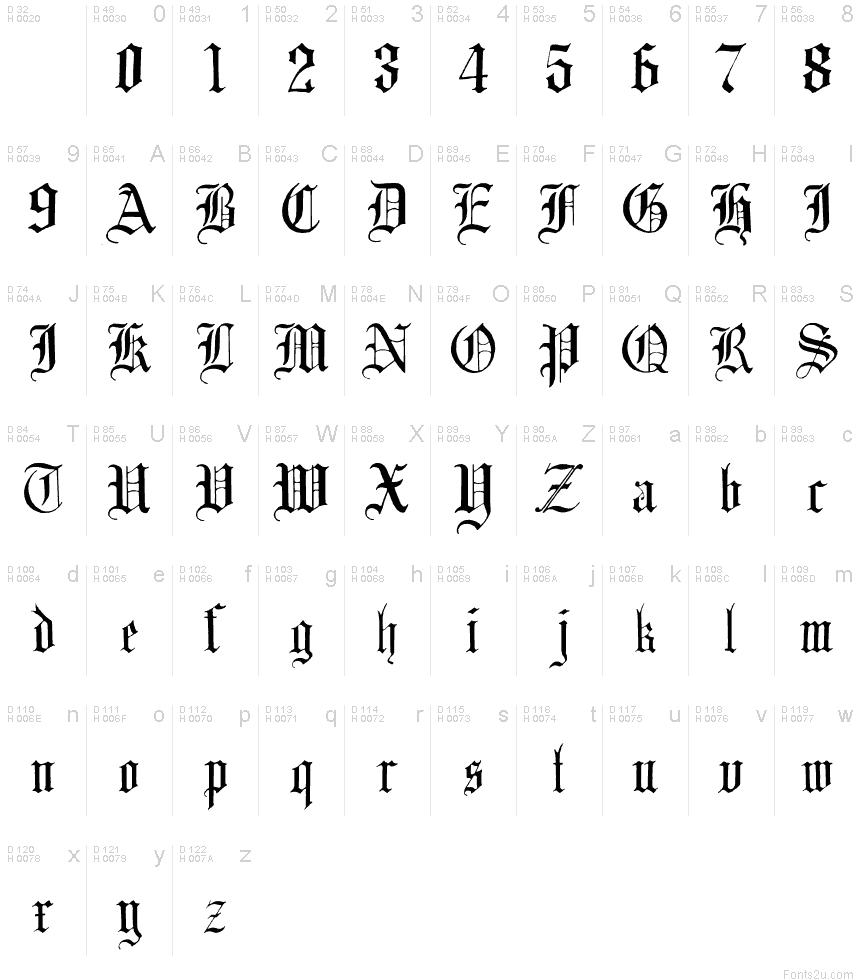 English Gothic, 17th c. font
