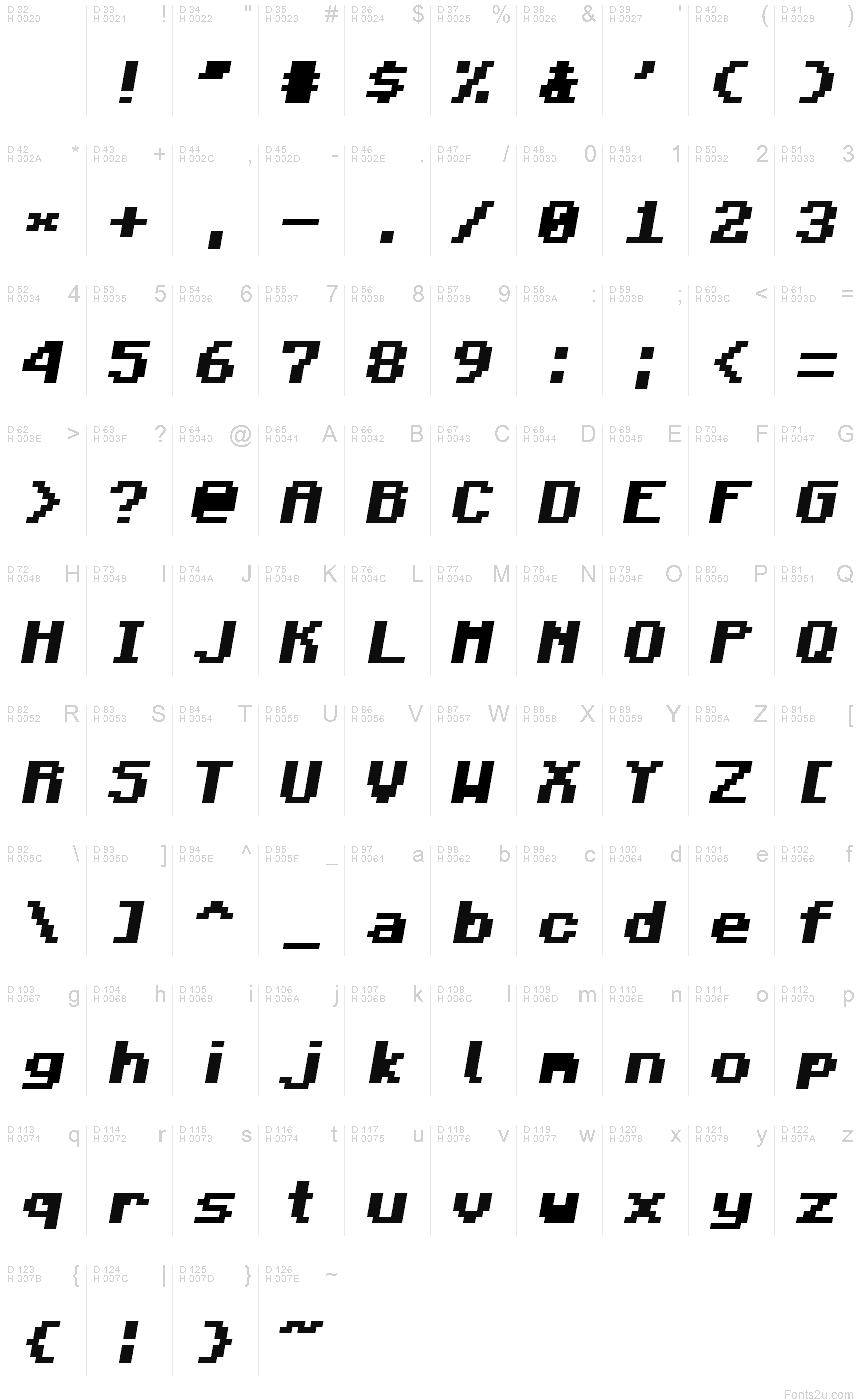 Minecraft Bold Italic font