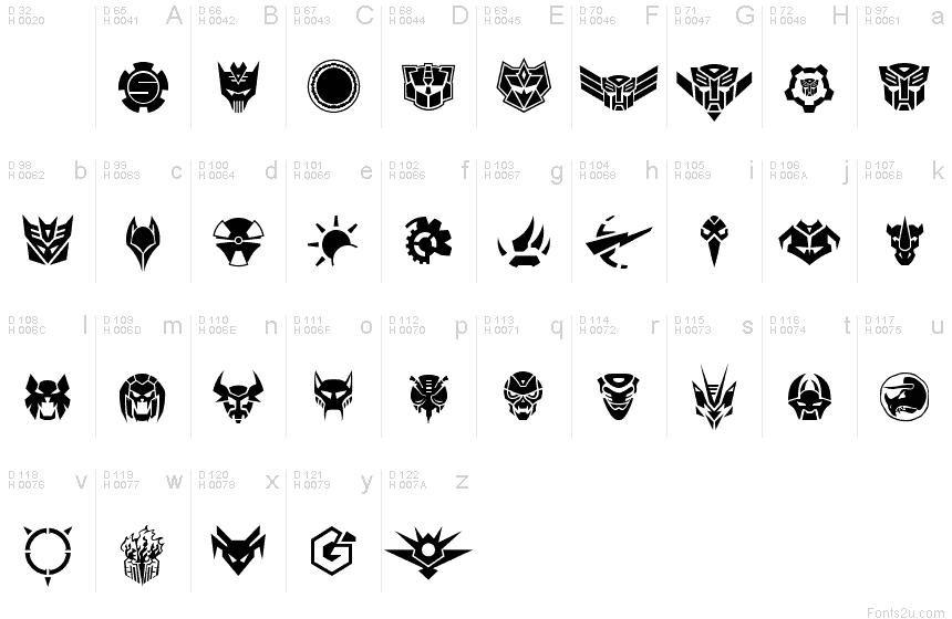 RobofanSymbols font