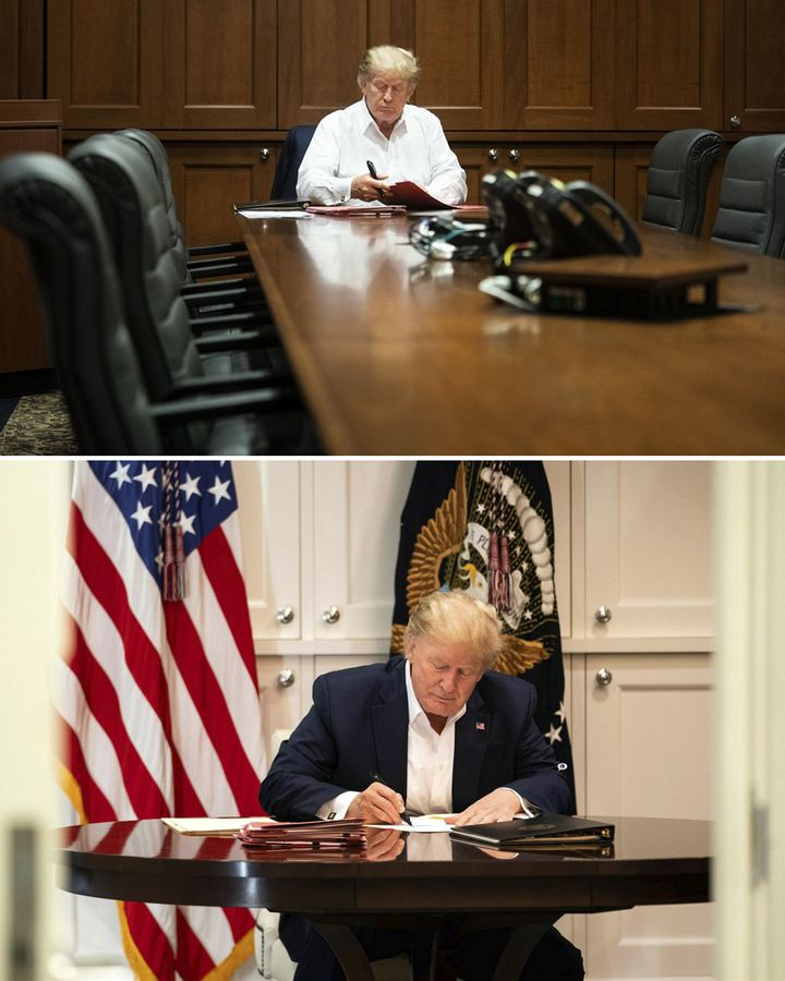 Two photos of Trump from inside the hospital where he was treated for coronavirus (Credit: EPA/Joyce N Boghosia/The White House)