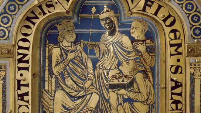 The 12th-Century altarpiece by Nicolas de Verdun depicts a black Queen of Sheba bringing gifts to King Solomon (Credit: Getty Images)