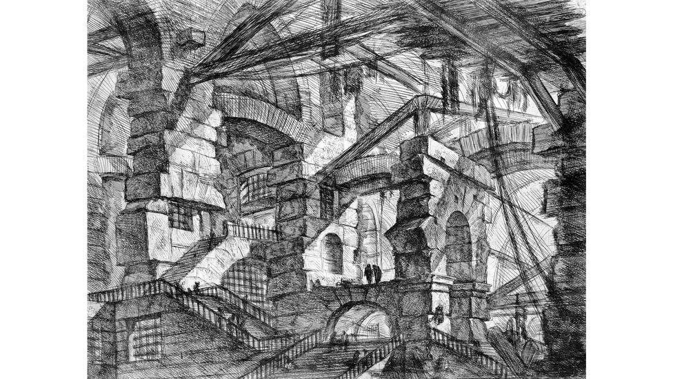 Gotik kemer, İtalya, 1749: John Wilton-Ely'nin bu baskısı, İtalyan sanatçı Giovanni Battista Piranesi'nin bir gravüründen hayali bir mimari özelliği tasvir ediyor.