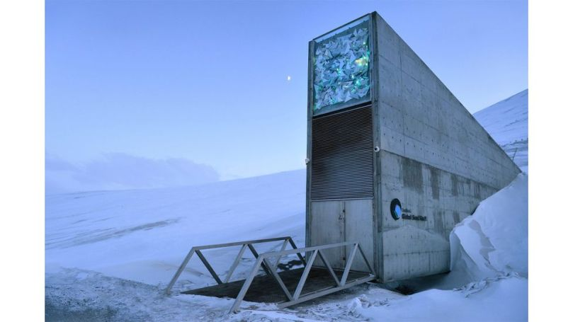 The Svalbard Global Seed Vault lies deep inside a mountain, half way between mainland Norway and the North Pole (Credit: Alamy)