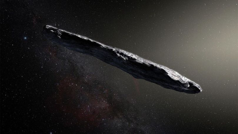 The brightness of 'Oumuamua was found to fluctuate at regular intervals, suggesting that it's rotating and either highly elongated or disc-shaped (Credit: Alamy)