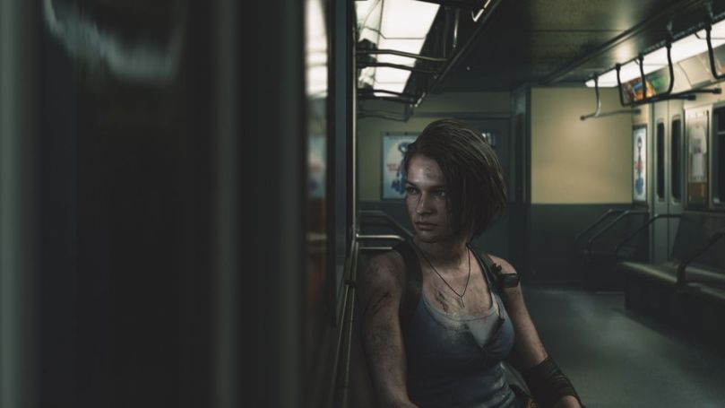 This shot of bloodied Resident Evil 3 heroine Jill Valentine sat on a train carriage has echoes in the daily commute (Credit: Leo Sang/Capcom)