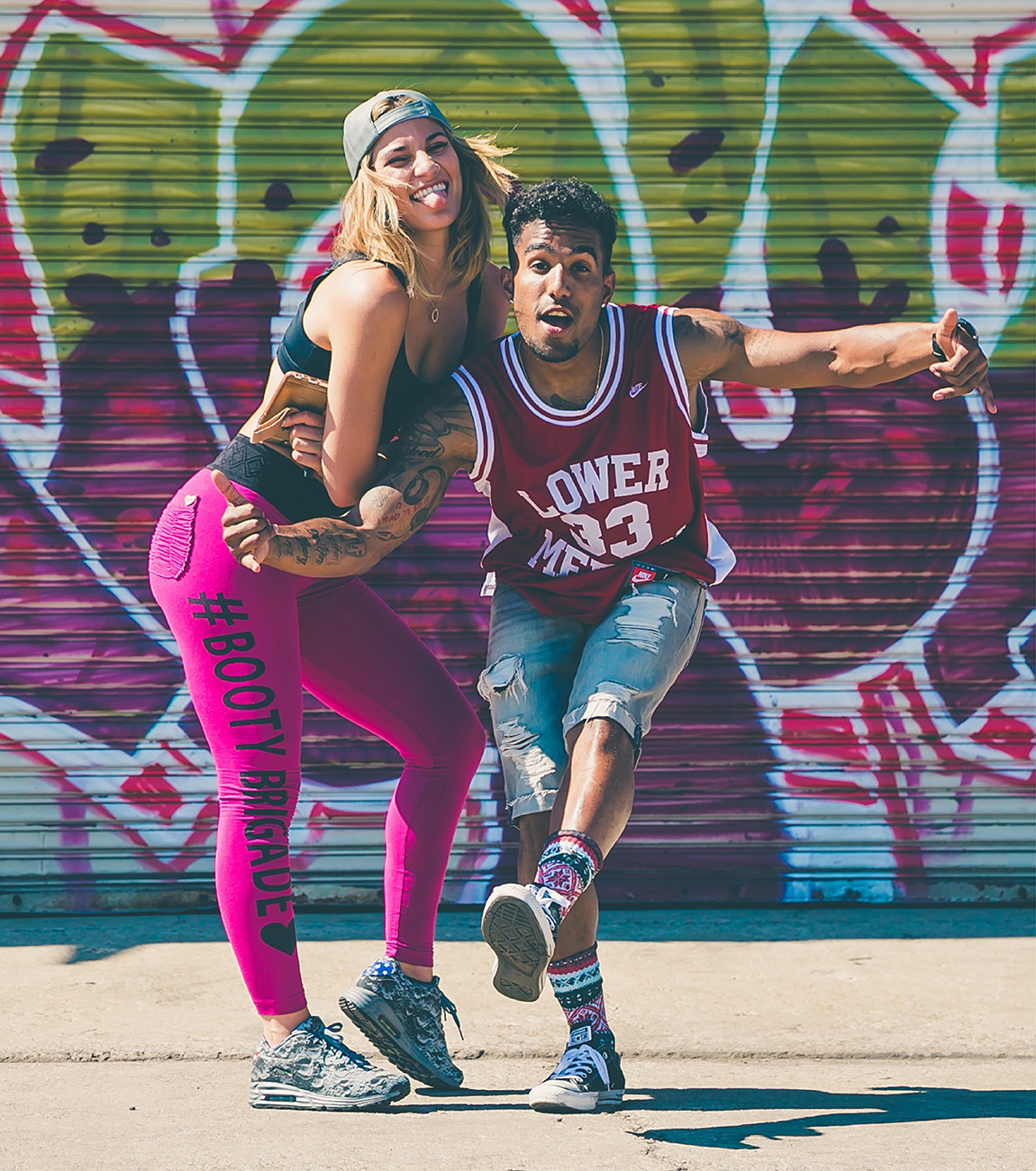 Male and female hip-hop dancers