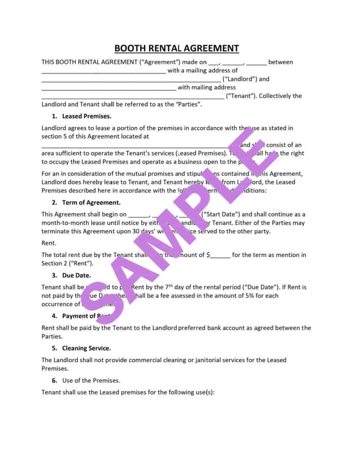 If you are running a beauty salon and you need a booth rental agreement, spreeberry has provided a free agreement here.