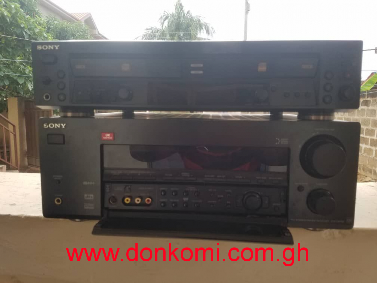 amplifier,dual deck recorder and four speakers