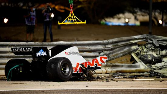 A racing car crashed into a wall in F1 Bahrain and exploded. The driver escaped from death