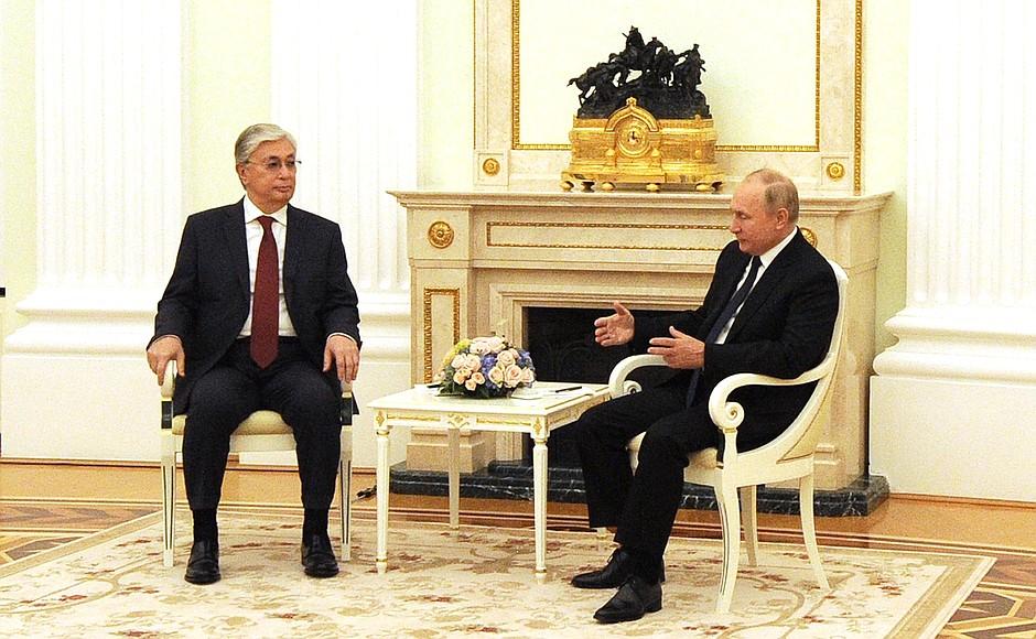 Russian President Vladimir Putin meets with Kazakh President Tokayev